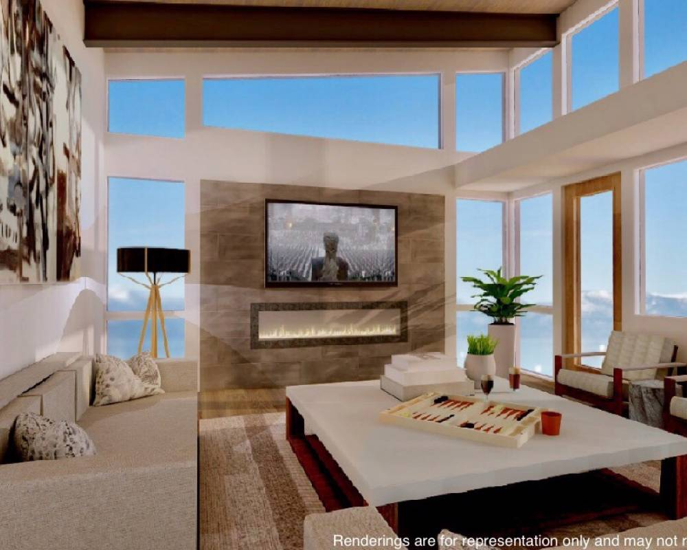 lakefront living room rendering
