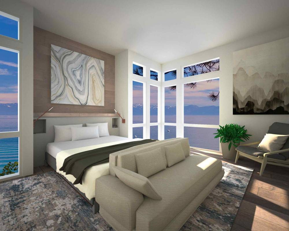 lakefront master bedroom rendering